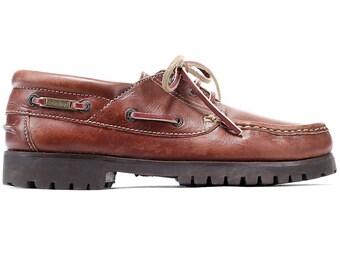 ac0ba051e89 US women 9.5 Vintage Loafers 80s Top Sider Moccasins Shoes Boat Deck Shoes  Brown Leather Vintage Unisex Footwear sz Eur 40