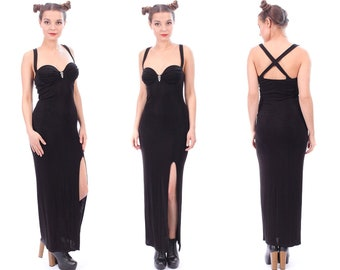 5c8600f8462 Sweetheart Dress Black Slip Party Dress 90s Long Spaghetti Strap Open Back  Maxi High Slit Halter Bodycon Sexy Party Gothic sz Small