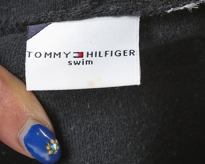 Tommy Hilfiger Hoodie Jacket 90s Fleece Hoodie Black Bomber Track Jacket Hilfiger Logo Vintage Zip Up Street Sport Unisex size Small