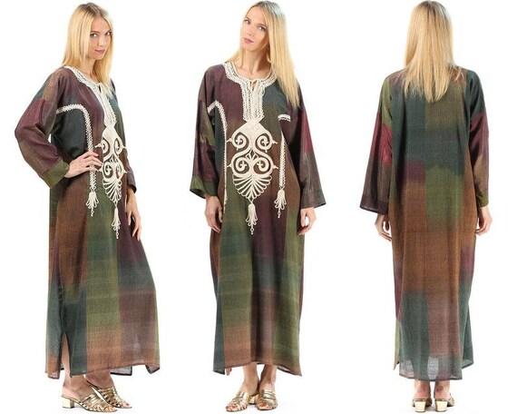 CAFTAN Dress Green 70s Patchwork Hippie Maxi Kimon