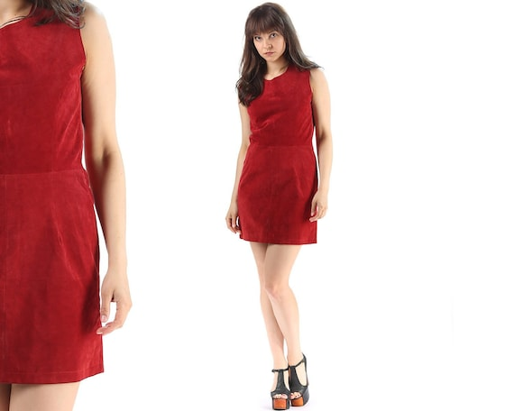 Red Suede Dress 70s . Leather Mini Dress Hippie Re