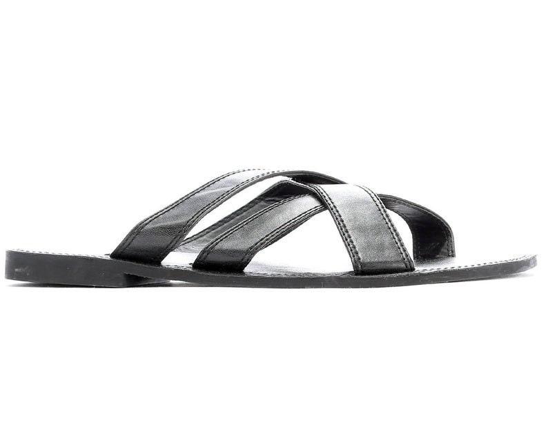 8079022a40c1c US 9 Men's Sandals 90s Black Leather Mules Wide Straps Gladiator Sandals  Leather Slides Slide On Men Sandals UK 8.5 EUR 42.5