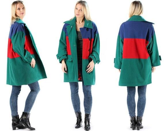 Green Duffle Coat Wool 80s Color Block Winter Coat