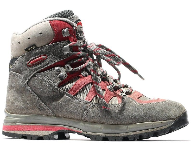 75cbac34cfa US women 8 Hiking Trekking Boots 90s Wild Trail Meindl Sneaker Air  Revolution Walking Boots Gray Red Waterproof Suede Nylon Eur 38.5 UK 5.5