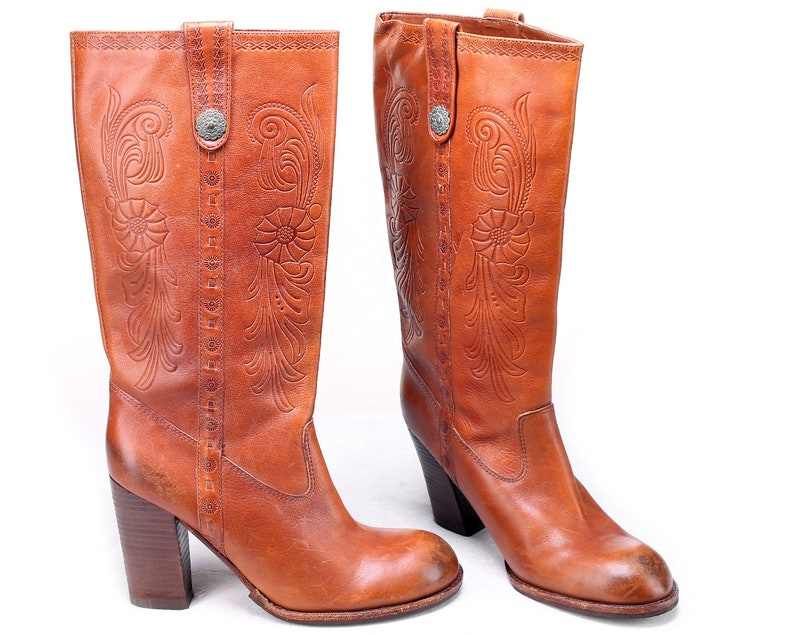 59e8a9e86f1 US size 8 Knee High Boots Tall Honey Boots 90s Vintage Campus Boots Brown  Boots Tooled Leather Boots Stacked High Heeled . Eur 38.5 UK 5.5