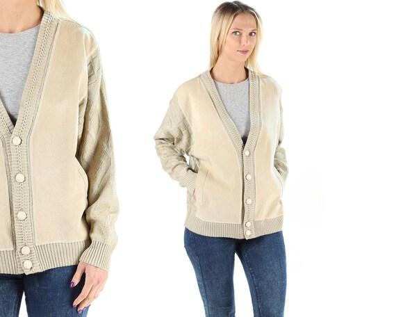Leather Cardigan Jacket Boho Cardigan 70s Bohemian