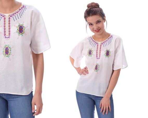 Hand Embroidered Blouse 60s White Gauze Shirt Gauz