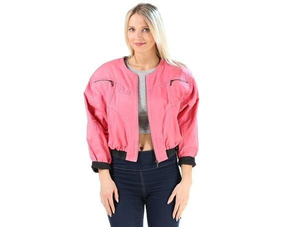 Bright Pink Jacket 80s Zip Up Crop Bomber Jacket C