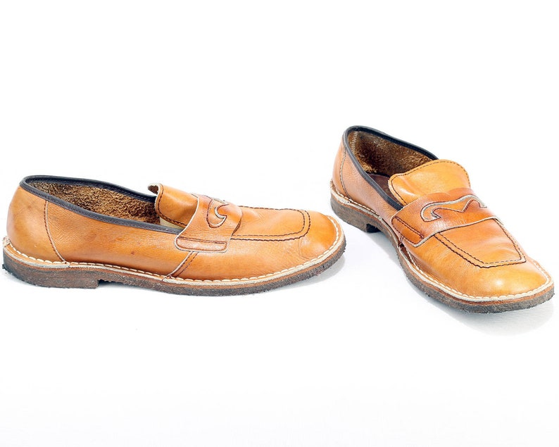 dcfd86fc7ec6a US men 10 . Retro Leather Loafers 70s Penny Loafers Nerd Geek Vintage Brown  Leather Shoes Wide Fit Grandpa Shoes . Eur 44 Uk 9.5 . SKU 6407