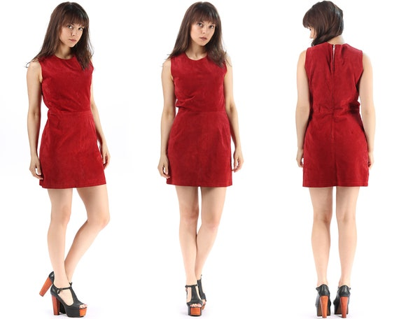 Red Leather Dress Mini Dress 70s Suede Dress Hippi