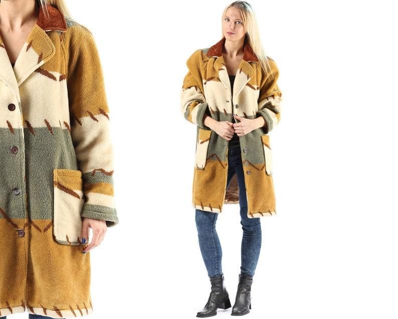 Fleece Aztec Coat 80s Oversized Winter Coat 1980s Mustard Yellow Gray White Warm Coat Earth Tones Striped Faux Suede Collar Large