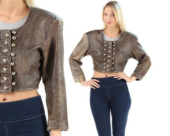 Crop Leather Jacket 80s Stone Wash Vintage Clothin