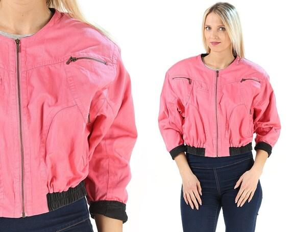 Pink Bomber Jacket Windbreaker 80s . Zip Up Crop J