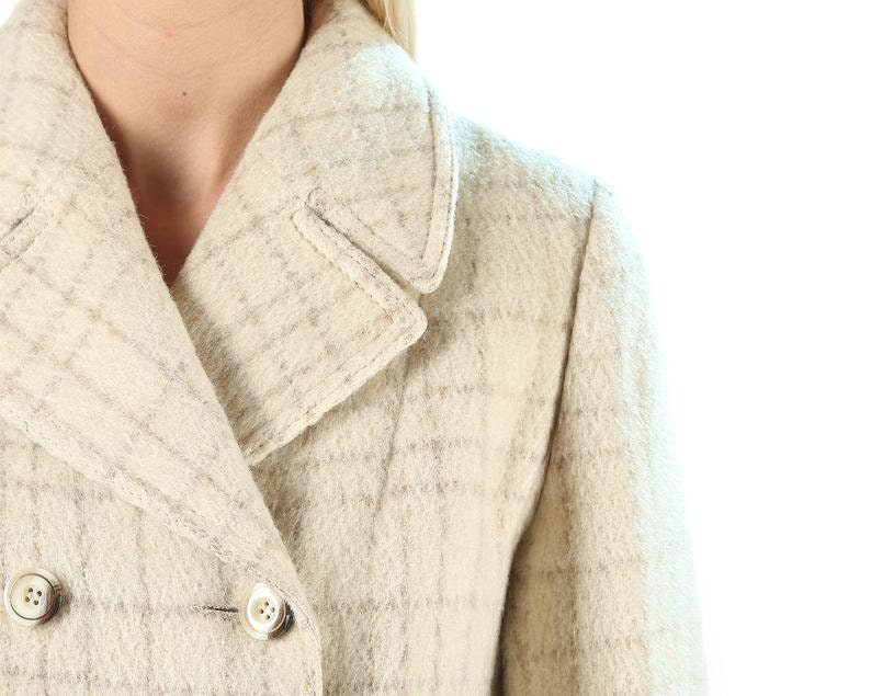 80s Plaid Wool Coat Retro Clothing Oversized Collar Vintage Autumn Coat Double Breasted Women Checked Coat Clothing Outerwear size Medium
