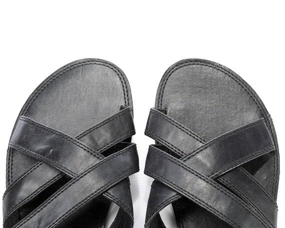 b624b36516cf1 US 9 Men's Sandals 90s Black Leather Mules Wide Straps Gladiator ...