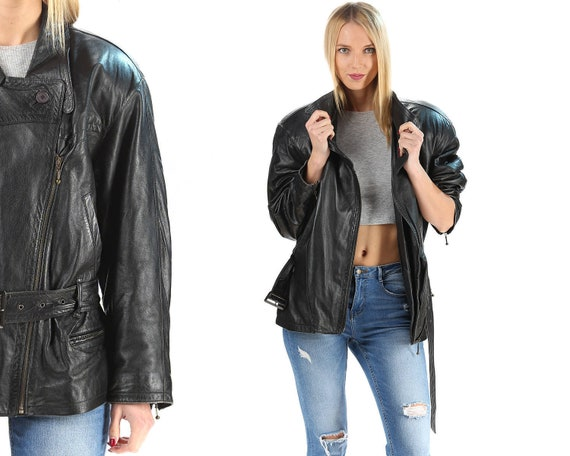 Black Leather Jacket Vintage 80s MOTORCYCLE Jacket