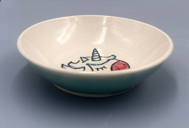 Unicorn Bowl jewelry holder small turquoise and white children/'s bowl room decor unicorn illustration