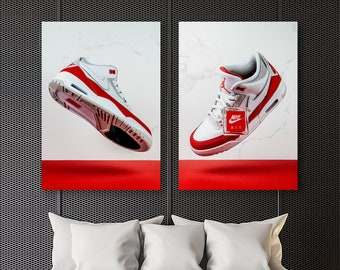 51d9d50ef53e SET of TWO Prints  Air Jordan 3 Retro Tinker DUO  Premium Hypebeast Hype  Retro Sneaker Prints Wall Home Decor Sneakerhead Limited Poster Art