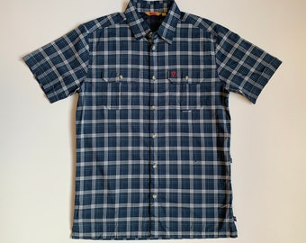 Vintage FJALLRAVEN Quick Dry Outdoor Round Neck Ringer Rare Medium Size Nice Design Short Sleeve Shirt