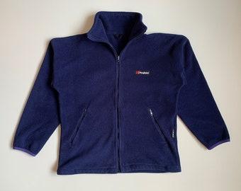 90's Berghaus Vintage Fleece Polartec Mens Jacket Navy Blue  Size S Winter Sweater Sweatshirt Full Zip Retro