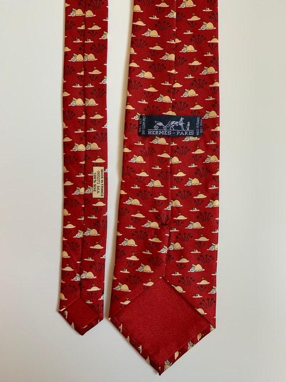 "Mens Vintage Hermes Tie ""Hypopotam print"" 100 % Si"