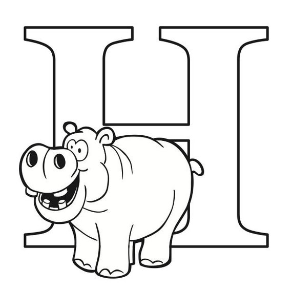 Letter H Coloring Page Etsy