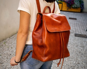 38c5bf4f8 Womens Leather Backpack - Made in Italy, Daily leather rucksack in cognac  color, Leather Drawstring Backpack