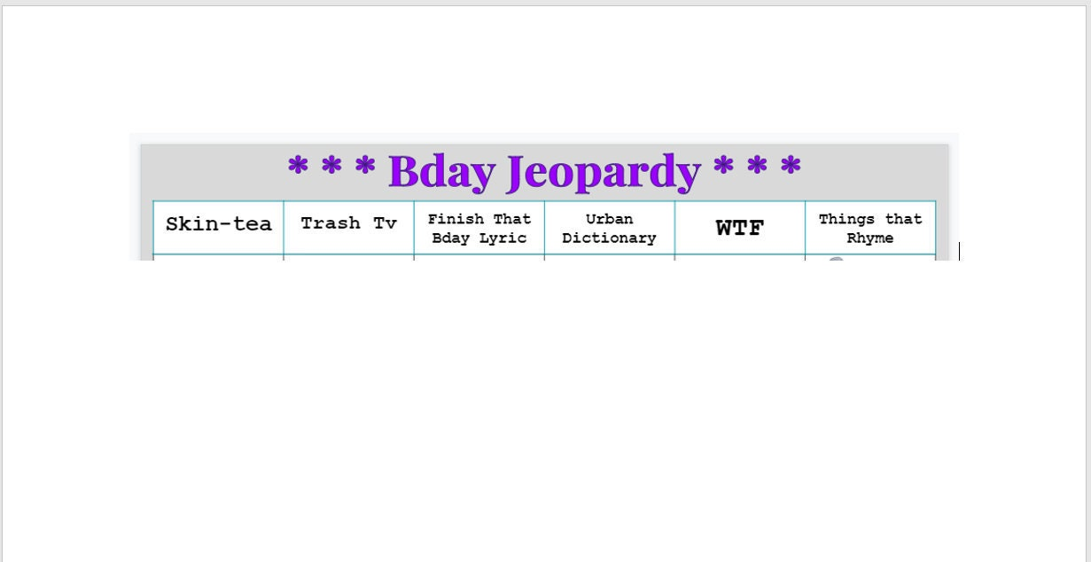 Bday Jeopardy **Digital DL**