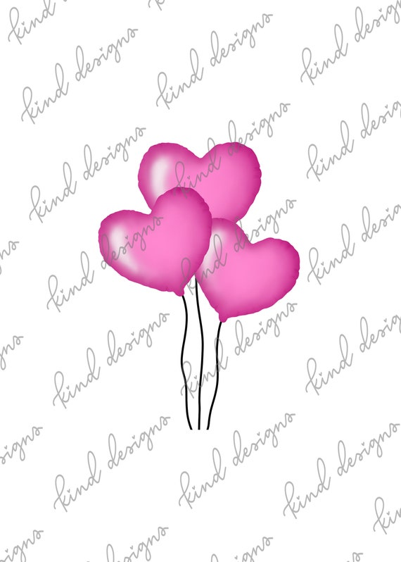 Pink Heart Mylar Balloons Digital Die Cut Printable Die Cuts For Tns And Ring Planners