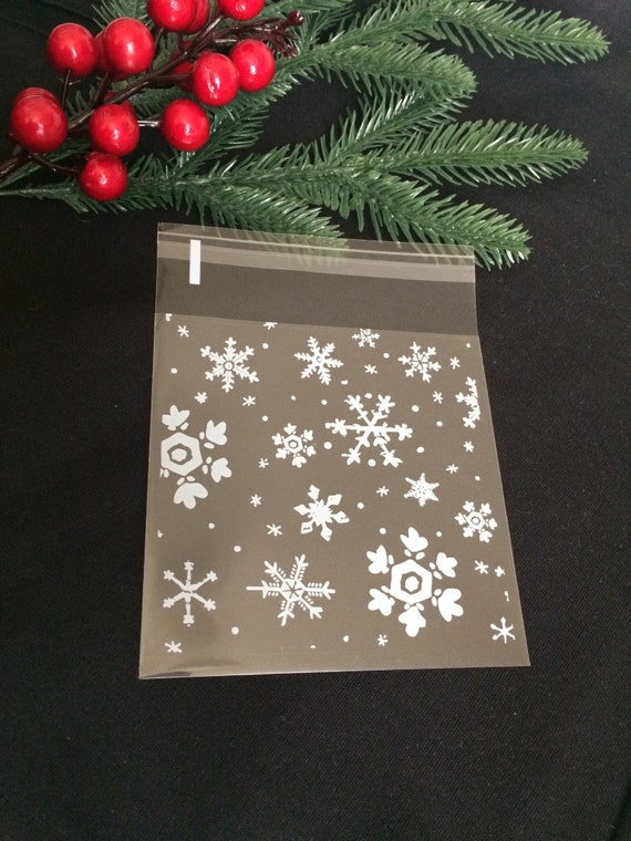 Clear Cellophane Snowflake Patterned Gift Favour Sweets Baking Cookie Party Festive Christmas Bags X10