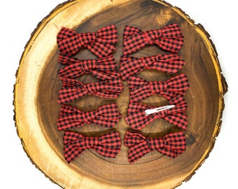 Skinny Red + Black Sheperd's Check Bow
