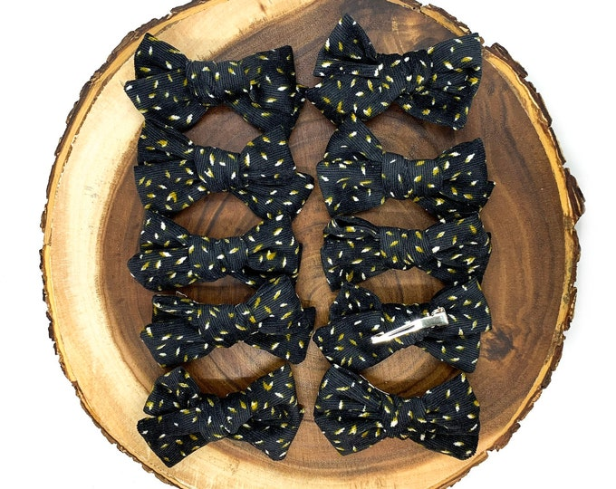Charcoal Mustard Floral Hair Bow