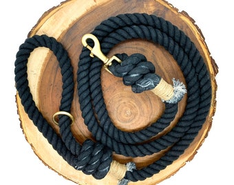 Midnight Cotton Rope Leash