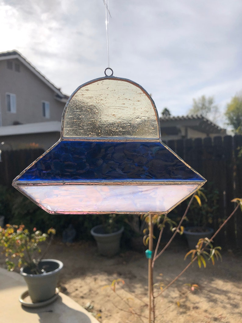 Blue Giant Dome UFO Stained Glass Lightcatcher White Rainbow and Clear Swirl Glass