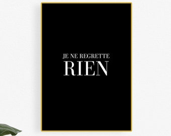 French Quote French Song Je Ne Regrette Rien Non Hand Stamped Spoon