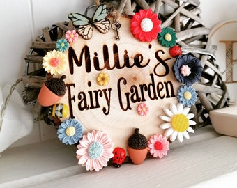 Fairy Garden Engraved Wooden Log Garden Plaque Sign Personalised Name with Butterfly Flower Acorns Bronze Key Ladybug Decor Hung with Twine