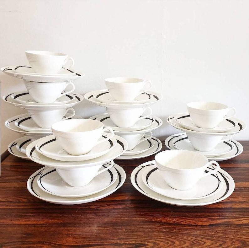 Good Condition Cups Saucers /& Desert Plates 12 RARE 1950s Pencil Breakfast Sets Modernist Porcelain Stig Lindberg for Gustavsberg