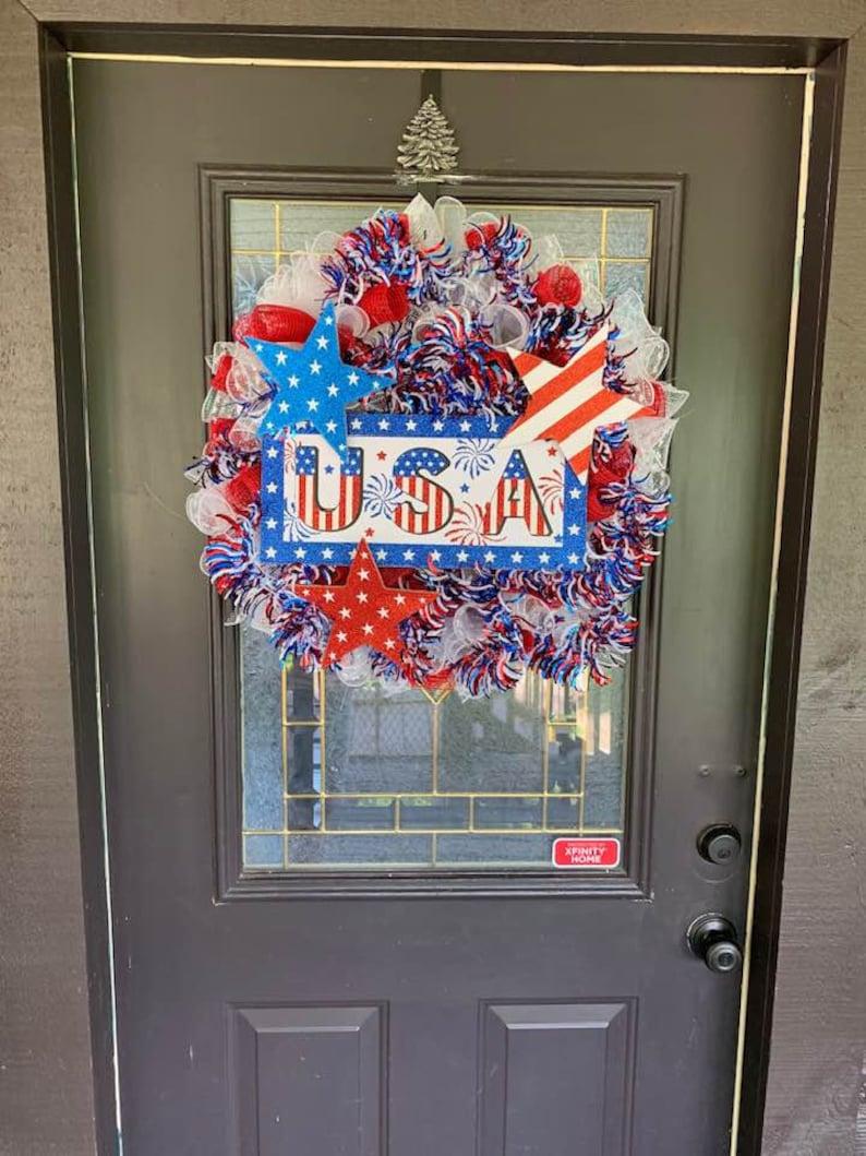 4th of July Deco Mesh Wreath 4th of July Mesh Wreath Patriotic Wreath for Front Door Patriotic Wreath 4th of July Wreath