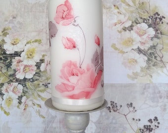 Decorative pillar candle, rustic pillar candle, Decoupage candle, Candle with Roses, Hand decorated candle