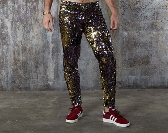 272f13b3a5fe7c Burning Man Leggings, Rainbow Gold Sequin Pants, Sparkly Meggings, Mens  Festival Outfit, Sequin Suit Trousers, Sequin Trousers | Sparklebutt