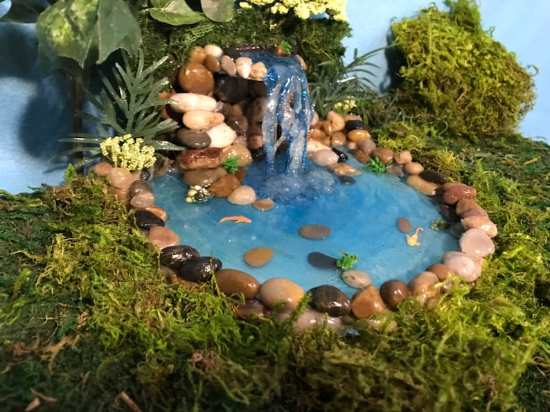 Fairy garden pond with waterfall