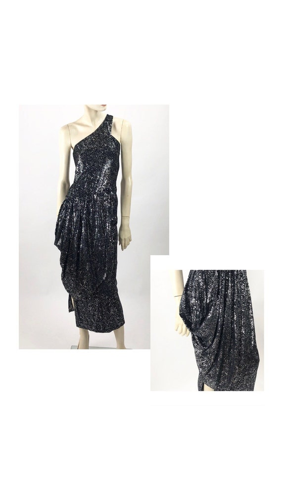 1980s Vintage Dress//black and silver// WET LOOK//