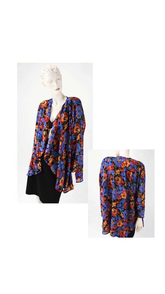 1990s Vintage floral cocoon blouse//Vintage floral