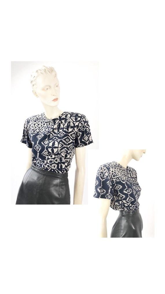 1990s Vintage blouse// patterned blouse//1990s pri