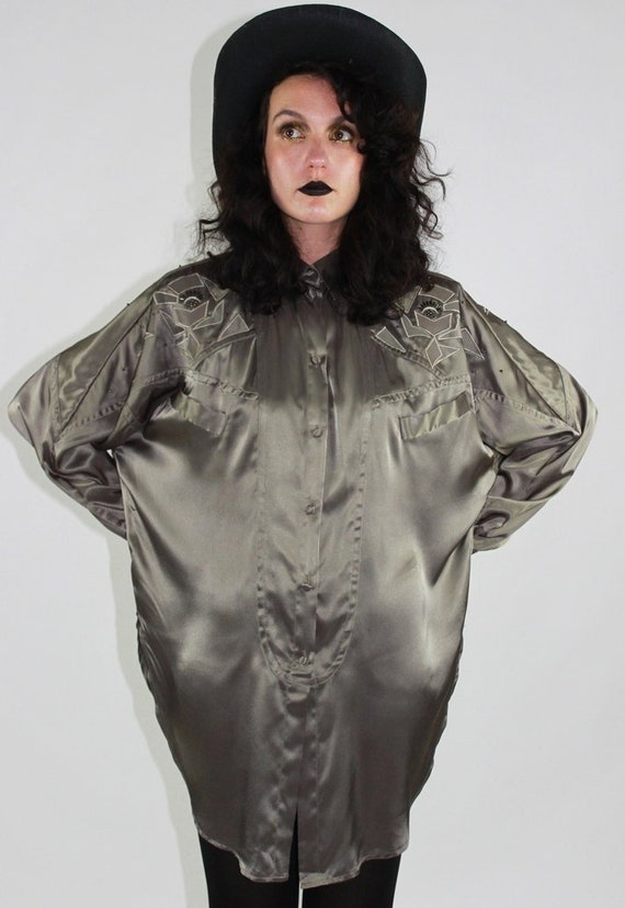 1980s Valenti gun metal blouse with sequins