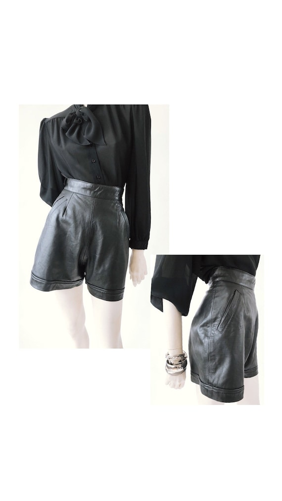 1980s Vintage Leather Shorts//Vintage leather//Vin