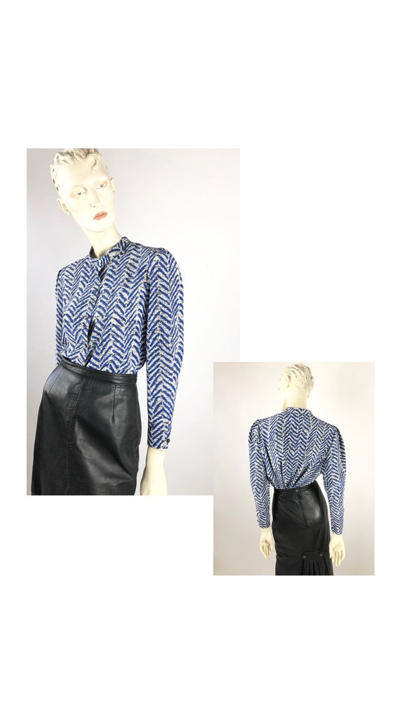 1980s Vintage Blouse//Vintage patterned blouse//Gl
