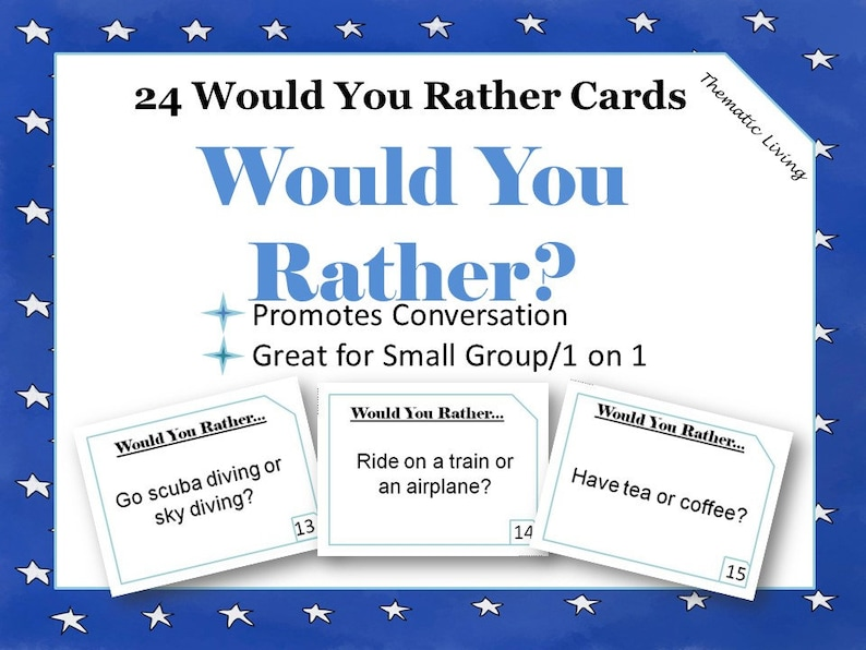 picture regarding Would You Rather Cards Printable named 24 Would Oneself As an alternative Playing cards Printable Interaction Starters