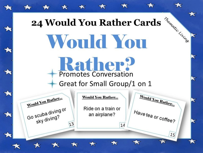 photograph about Would You Rather Cards Printable identify 24 Would Yourself Pretty Playing cards Printable Communication Starters