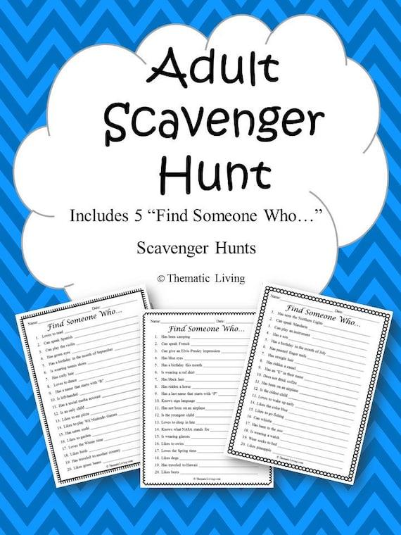 Scavenger Hunt List >> 5 Adult Scavenger Hunts Find Someone Who Printable   Etsy